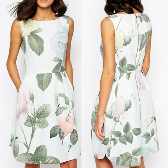 6f89f8121 Ted Baker Eleta Distinguishing Rose Mint Dress. M 5c6c4a09d6dc52e79b1386bf